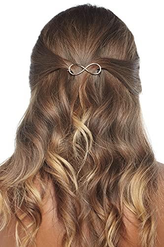 Damen Haarclip Haarspange für Frauen aus Metall in Form von Unendlichkeits Symbol golden