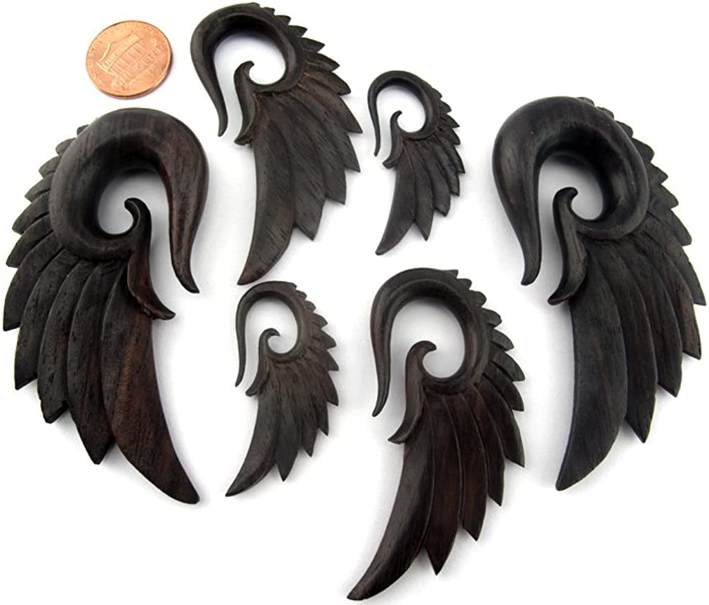 Urban Body Jewelry Pair of 2 Gauge (2G - 6mm) Sono Wood Angel Wing Spiral Plugs