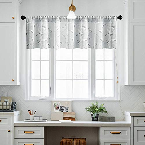 MRTREES Grey Valance Curtain Sheer Curtain Valances 16 inches Long Living Room Linen Textured Gray Leaves Printed Bedroom Leaf Print Rod Pocket 1 Panel Window Treatment
