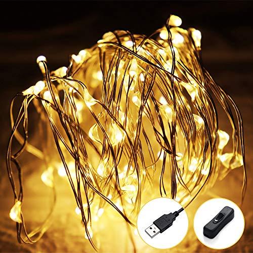 12M Luci Led USB,120 LED Luci Albero di Natale Filo di Rame Luci Natale Luci Fata per Interno Festival Natale Matrimonio Festa Patio Decorativa con Interfaccia USB,Bianco Caldo
