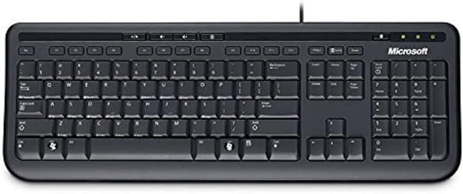 Microsoft Wired Keyboard 600 - Teclado, Black, con Cables, USB, 60 MB, USB, CD-ROM, Windows Vista/Windows XP, Negro (QWERTY - Reino Unido) (QWERTY ...