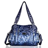 Angel Barcelo Roomy Fashion Hobo Womens Handbags Ladies Purses Satchel Shoulder Bags Tote Washed Leather Bag Blue