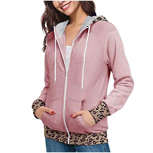DNOQN Mantel Parka Hoodie Oversize Kurzmantel Mode Frau Leopard Drucken Jacke Hoodies Mantel Regenbogen Sweatshirt Beiläufig Jacke