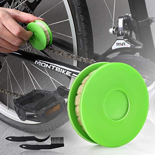JNUYISW Lubrificatore a rulli per oliatore a Catena per Bici, Lubrificante per lubrificante per lubrificatore per Ingranaggi a Catena per Bici Strumento per la Cura della Bicicletta (Verde)