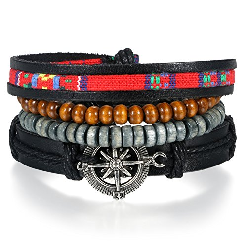 JewelryWe Schmuck Tibet WICKELARMBAND Serie Leder Armband Armreif Surferarmband für Herren Damen Unisex, Retro Kompass Anhänger mit Holz Perlen