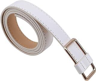Yinew - Cintura con Fibbia Quadrata Piatta e Liscia, Senza Fori, per Vestiti, Accessori Decorativi, Bianco, As Description