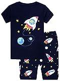 elowel Cohete Espacial Conjunto De Pijamas Cortos De 2 Piezas para Ninos Chicos 100% De Algodon (Tallas 2 Anos)