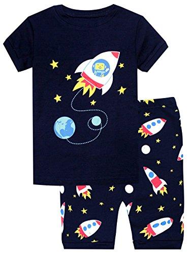 elowel Cohete Espacial Conjunto De Pijamas Cortos De 2 Piezas para Ninos Chicos 100% De Algodon (Tallas 3 Anos)