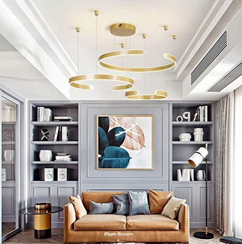 Moderne LED Pendelleuchte Höhenverstellbar 3 Ringe Pendelleuchte Rund Wohnzimmer Gold Pendelleuchte Aluminium Esszimmer Schlafzimmer Beleuchtung 130W Warmes-Licht 3000K 40 + 60 + 80 CM