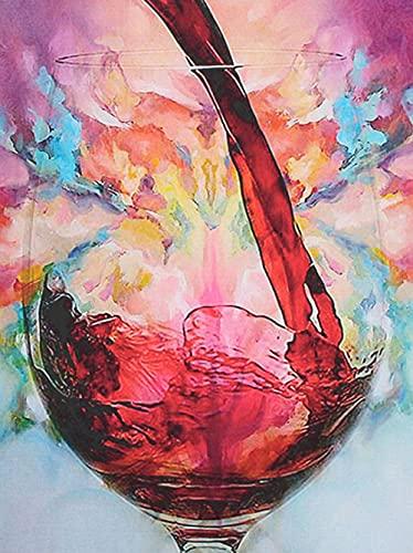 DIY 5D Diamond Painting Copa de vino Apto para adultos y niños Kit de Pintura de Diamantes dormitorios decoración de del hogar para Salones Manualidades regalo de cumpleaños40*50cm