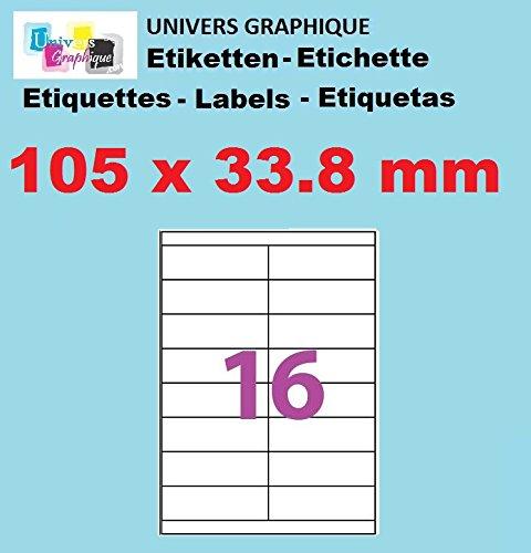 50 A4-Blatt 16 Aufkleber 105 x 33,8 mm Aufkleber Etikettendrucker für Tintenstrahl- und Laserpapier