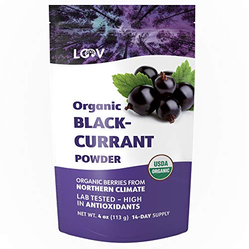 LOOV Organic Blackcurrant Powder, Made from 100% Whole Blackcurrants, Freeze Dried and Powdered Organic Blackcurrants, 4 Ounces, 14-day Supply, Raw, Grown in Northern Europe, no Added Sugar