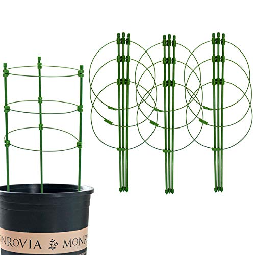 Techson 4 Pack Plant Support Cage, Tomato Cage with 3 Adjustable Rings, Garden Plant Trellis Stakes Kits for Climbing Vegetables, Flower, Included 4 Self Watering Spikes and 20 Plant Clips (18 Inch)