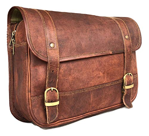 The Vintage Stuff Genuine Leather Bike Saddle Bag Panniers Cycling Tool Bag for Travel with Adjustable Straps
