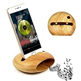 Cell Phone Stand with Sound Amplifier, Smartphone Stand Holder Natural Bamboo Wood Phone Dock Stand Compatible and Android Smartphones