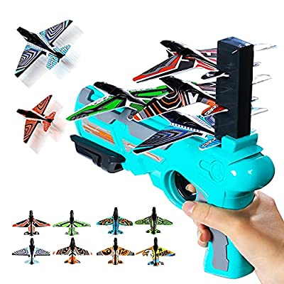 Bubble Catapult Airplane Toys for kids, 2021 New Hot Toy,One-Click Ejection Model Foam Airplane, 8 Pcs Glider Airplane Launcher, Outdoor Sport Toys Foam Airplane Birthday Children's day Gifts (Blue) from Lushforest-1