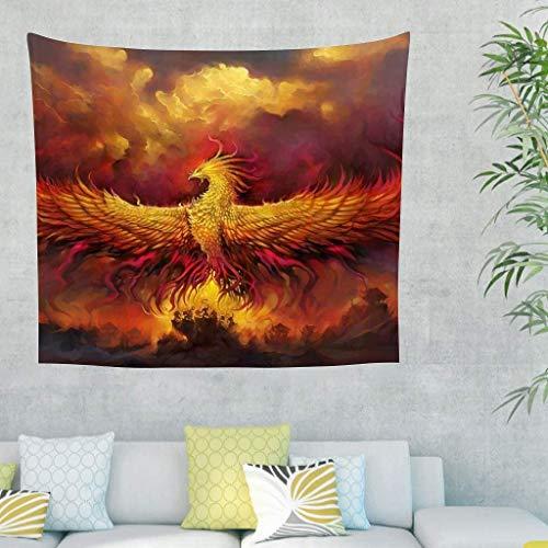 QVOOD Indisch Wandteppiche Flamme Phönix Wandbehang Hippie Tapestry Wandtuch Tapisserie Bohemian Wall Hanging Wand Aufhängen Tischdecke,Strandtuch,Tuch,Picknickdecke white 230x150cm