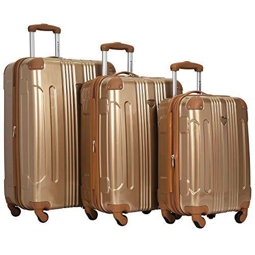Travelers Club 20' or 3 Piece Polaris Metallic Spinner Luggage Set, Copper, 28'/24'