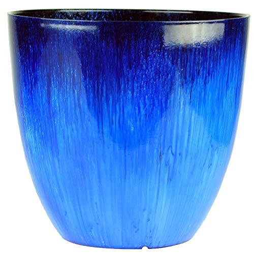 Gardener Select (EPR18-105 Large Egg Shaped Planter - Modern Indoor & Outdoor Decorative Flower Pot/Box (18 Inch, Blue Flower)