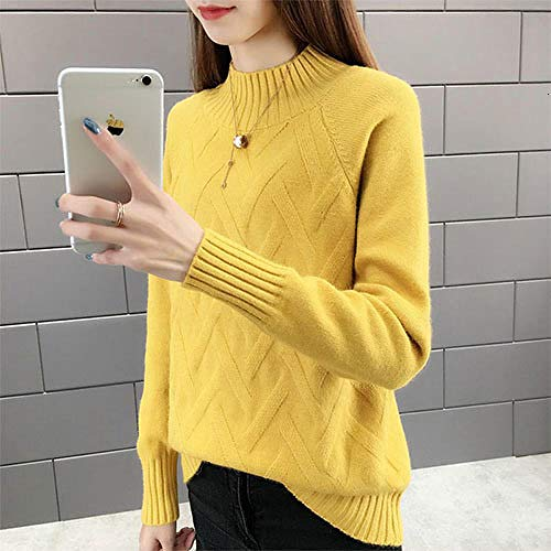 JFHGNJ Fall Winter Pullover Sweater Vrouwen Lange mouwen Coltrui Vrouw Geel Blauw Groen Warm Jumper-Yellow_The