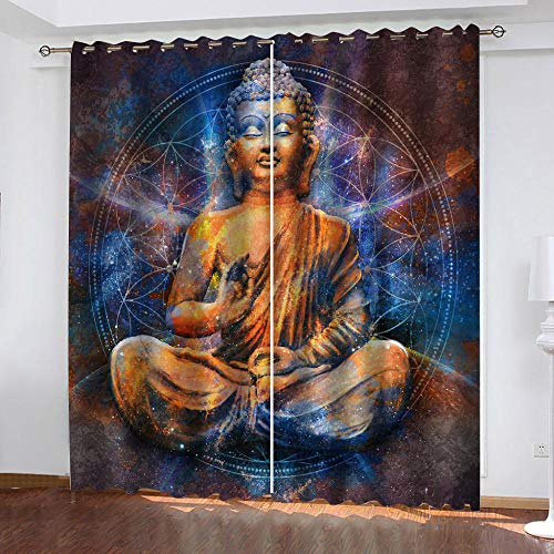 Cortinas Cortinas Vintage y Estatua de Buda Dormitorio Moderno Ventana 3D Impresión Ojales Habitación Antimosquitos Insonorizantes Protección UV 2x140x175cm(AnxAl)