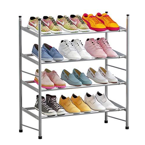 Nvshiyk Organizador de Zapatero Rack de Zapatos apilables de 3 Capas, Estante de Zapatos expandible y Ajustable Durable y Estable (Color : Gris, Size : (60-110) X22x69cm)