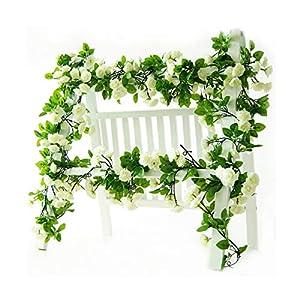 LI HUA CAT Artificial Flower 60 Heads Rose Vine Garland Artificial Flowers Plants for Wedding Home Party Garden Craft Art Decor 2pcs (Spring-White)