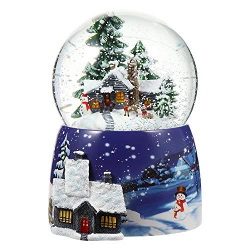 BESPORTBLE Schneekugel mit Musik Licht beleuchte Schneeball Winterhaus Landschaft Glas Musikbox Spieluhr Schneewirbel Glitzerkugel Schüttelkugel Tischdeko Snow Globe Weihnachten Geschenk