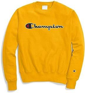 قميص رياضي رجالي منسوج عكسية من Champion LIFE باللون الذهبي / ذهبي - نص CHAINSTITCH ، مقاس متوسط