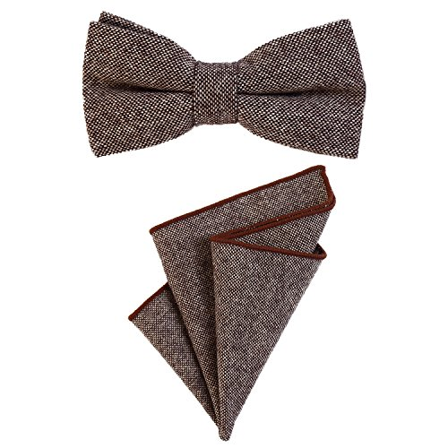 DonDon Pajarita para caballero 12 x 6 cm, atada y de tamaño ajustable, y pañuelo de bolsillo de 23 x 23 cm a juego de algodón marrón-beige