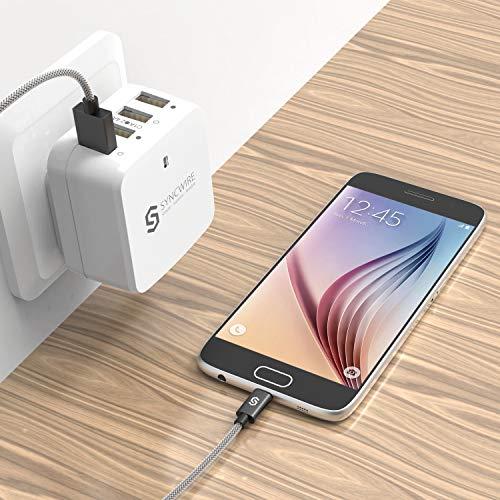 Syncwire Micro USB Kabel Nylon [2er-Pack, 1m] 2.4A USB Ladekabel, High Speed Synchronisation - Schnellladekabel für Android Smartphones, Samsung, HTC, Sony, Nexus und weitere, Space Grau