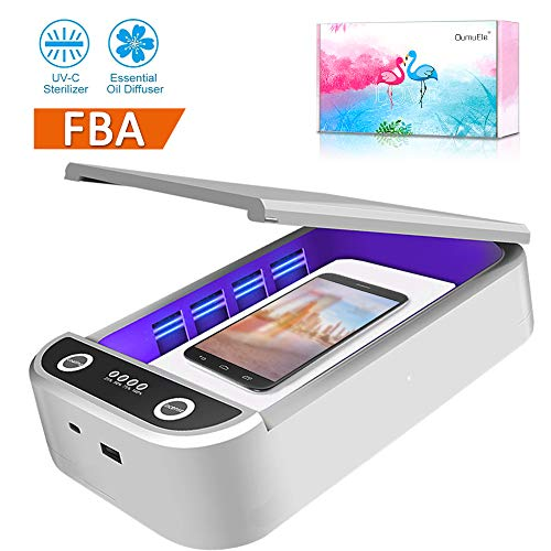 UV Cell Phone Sterilizer- UV Light Sanitizer Portable Cellphone Cleaner Box with Aromatherapy Function Smart Phone Disinfector for iPhone Android Phones Toothbrush Jewelry Watches … (cleanWhite)