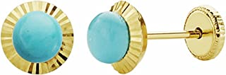 18K Gold Earrings 6mm Turquoise Border. Carved [Aa1007]