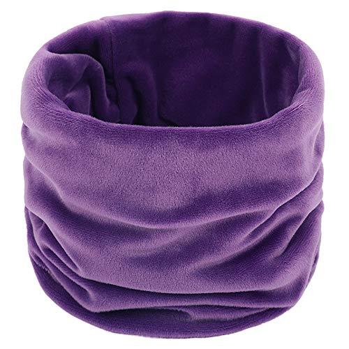 LiuliuBull W Moda Invierno Color Sólido Soft Gold Terciopelo Anillo Bufanda Cuello Calentador Vintage Mujeres Hombres Círculo Snoorder Bufandas Pareja Mujer (Color : Purple)