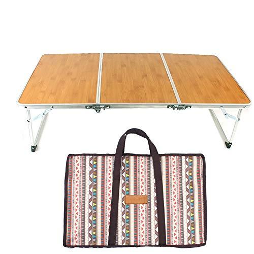 SJAPEX Tavolino da Campeggio Tavolo Pieghevole Portatile con Maniglia Formato Valigia Facile da Trasportare Alluminio Bamboo Ideale per Picnic Giardino Spiaggia
