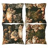 Raainhao Funda de cojín decorativa para sofá, diseño de gatos...