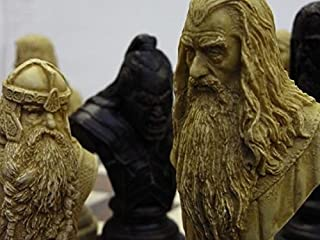 large heavy Lord of the rings chess set- full size complete set of game pieces based on the movie characters vintage and collectors book by J. R. R. Tolkien