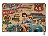 HOSNYE Route 66 Pin Up Girl Blechschild Vintage Poster Auto