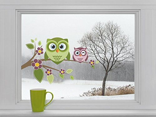 Mabi-IN-Design Eulen auf AST mit Blumen - Fenstersticker Sticker Aufkleber Vögel F038