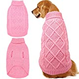 Mihachi Dog Sweater - Winter Coat Apparel Classic Cable Knit Clothes for Cold Winter,Pink,L