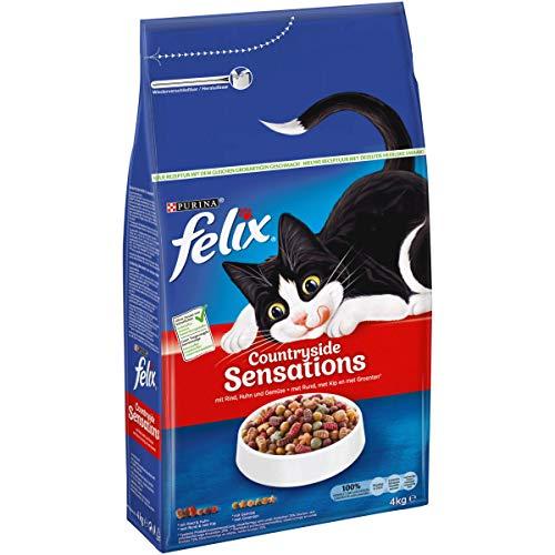 FELIX CountrysideSensations Katzenfutter trocken, mit Rind und Huhn, 1er Pack (1 x 4kg)