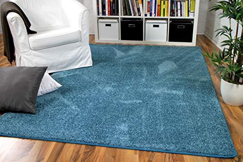 Hochflor Velours Teppich Mona Eisblau in 24 Größen