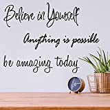 3 Pieces Wall Decals Stickers Inspirational Wall Decals Saying Peel and Stick Motivational Quotes Decal for Home Bedroom Living Room Decor