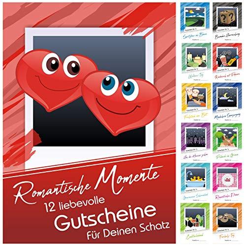 12 Verwöhngutscheine ROMANTISCHE MOMENTE inkl. 3 Blankokarten zum Selbstausfüllen - Jahreskalender als Geschenk zu Weihnachten, zum Valentinstag, zum Hochzeitstag oder zum Geburtstag