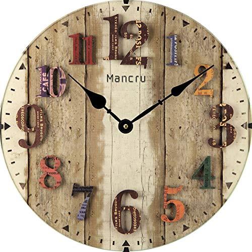 Mancru 1CM Pulgadas de Espesor Vendimia Sin Cubierta Silencio Reloj de Pared Lamentable de Madera Grande y Redondo Sin tictac Reloj de Pared Decoración Reloj 10-35CM