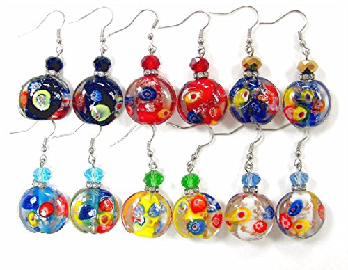 "Linpeng / Woman's Earrings/Lampwork Glass Beads Drop Earrings/Murano Assorted Colors/Round Beads 20mm / Faceted Crystal 8mm/ Length Around 1.5""/ 6 Pairs"