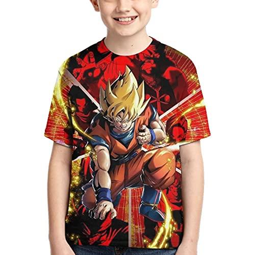 Camiseta de Dragon Ball para Niño T-Shirt con Estampado 3D Camiseta de Anime Genial Camiseta de Dragon Ball de Manga Corta para Jóvenes y Adolescentes (XS)