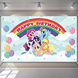 My Little Horse Pony Birthday Banners, Rainbow Happy Birthday Backdrop for Birthday Party Decor, Photo Backdrops Pink Rainbow Theme Photography for Girls Party Decorations 6 x 3.6 ft