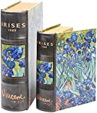 Enchanted World of Boxes Fine Art Nesting Book Boxes - Vincent Van Gogh Irises - Set of 2