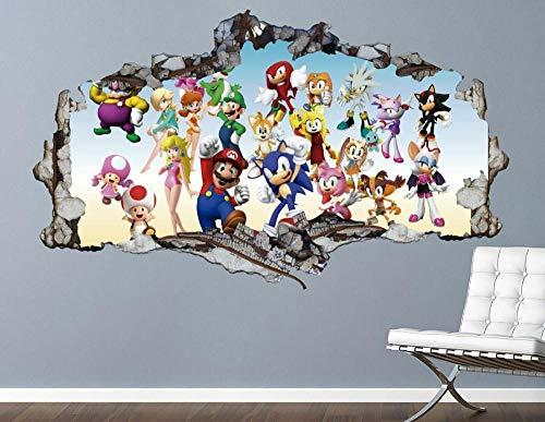 DDSYJ Etiqueta de la pared 3d Olympic Adventure Wall Decal Game Smashed 3D Sticker Art Vinyl